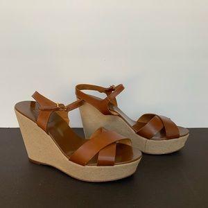 J. Crew Vachetta  Leather Canvas Wedge Sandals